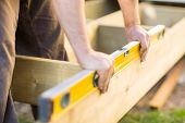 stock photo of carpenter  - Cropped image of carpenter - JPG