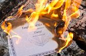 stock photo of employee month  - A Burning Employee of the Month Certificate - JPG