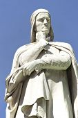 stock photo of alighieri  - Marble statue of Dante Alighieri in Verona Italy - JPG