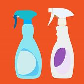 stock photo of trigger sprayer bottle  - Vector and illustration of plastic household cleaner trigger spray bottles - JPG