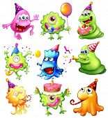 image of beanie hat  - Illustration of a happy monsters celebrating a birthday on a white background - JPG