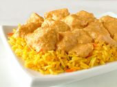 Chicken Korma With Pilau Rice On White