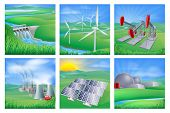 stock photo of fuel efficiency  - Illustrations of different types of power and energy generation including wind solar hydro or water dam and other renewable or sustainable as well as fossil fuel and nuclear power plants - JPG