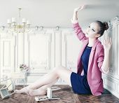 foto of transformation  - beautiful young girl in little room - JPG