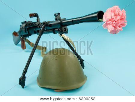 Machinegun And Flowers