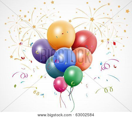 Colorful birthday with balloon and fireworks