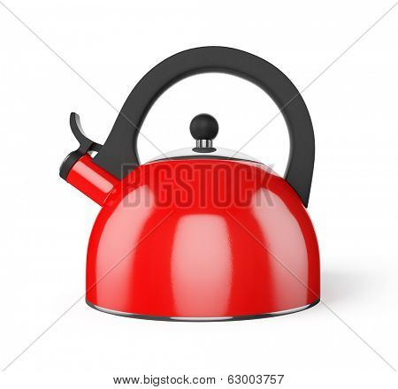 Red stovetop  whistling kettle isolated on white background