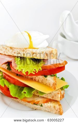 Fresh sandwich with bacon and poached egg
