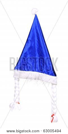 Christmas conical blue hat.