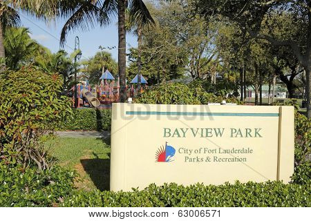 Bayview Park Sign On Bayview Drive