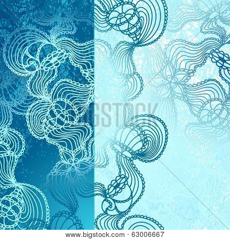 Background with  abstract marine lace in blue