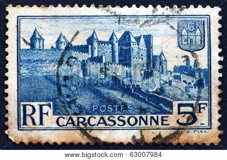 Postage Stamp France 1938 Medieval Walls Of Carcassonne
