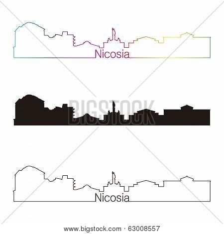Nicosia Skyline Linear Style With Rainbow