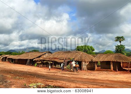 Nampula, Mozambique - 7 December 2008: The Settlement. National African House With A Thatched Roof.