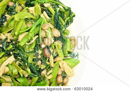 Morning Glory And Spinach Fried With Groundnut Vegetarian Food