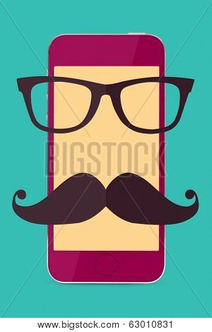 stylish touch screen mobile phone with hipster glasses and moustache