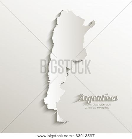 Argentina map card paper 3D natural vector