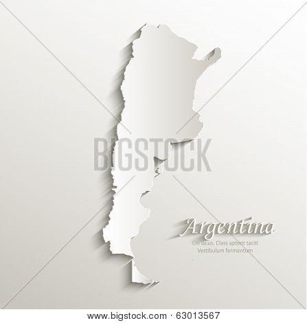 Argentina map card paper 3D natural vector
