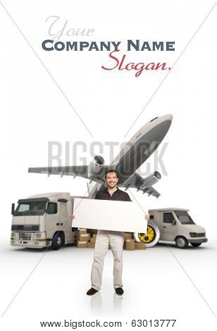 A man holding a blank message board with piles of packages, truck, chronometer,  van and airplane on the background