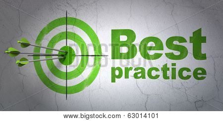 Education concept: target and Best Practice on wall background