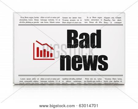 News concept: newspaper with Bad News and Decline Graph