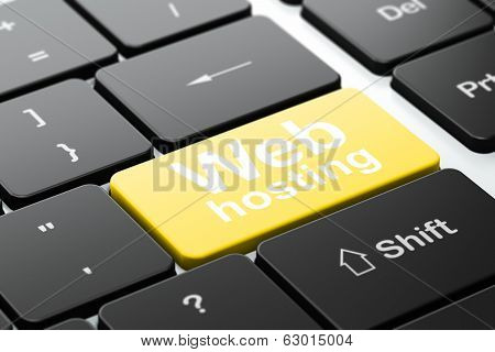 Web design concept: Web Hosting on computer keyboard background
