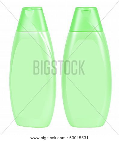 Shampoo Light Green Containers Isolated