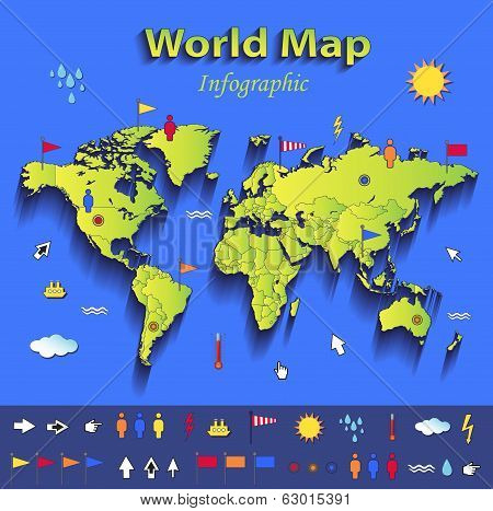 World map infographic political map individual states blue green card paper 3D vector