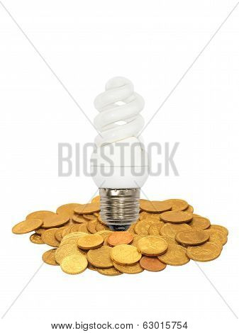 Energy Save Lamp On Coins Heap.isolated.