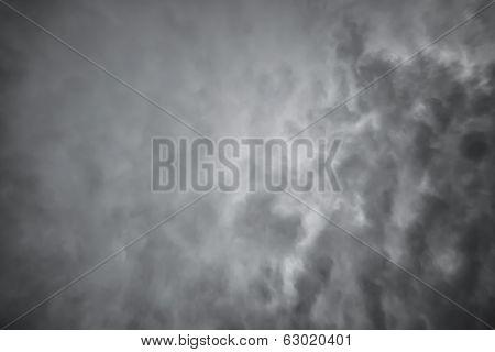 Dark Dramatic Clouds. Scary Sky Background