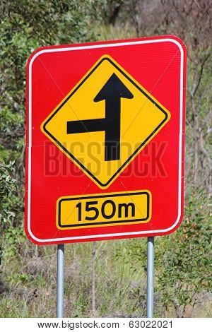 Concealed Road Warning sign 150m 1