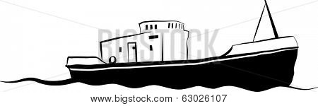Drawing of small old fishing boat