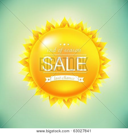 Sun Sale Background, With Gradient Mesh, Vector Illustration