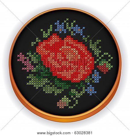 Embroidery, Vintage Flower Bouquet Cross Stitch On Wood Hoop