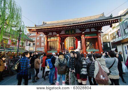Asakusa, Japan- Nov 21, 2013: Sensoji Temple. The Temple Is Approached Via The Nakamise, Shopping St