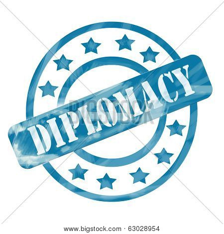 Blue Weathered Diplomacy Stamp Circles And Stars