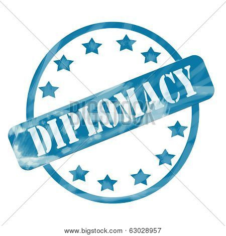 Blue Weathered Diplomacy Stamp Circle And Stars