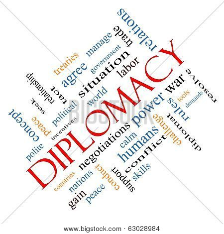 Diplomacy Word Cloud Concept Angled