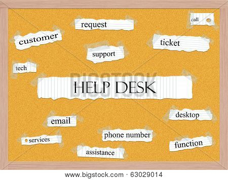 Help Desk Corkboard Word Concept