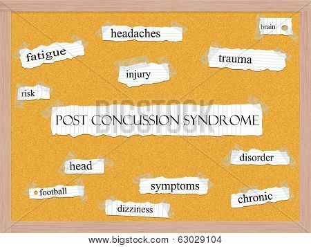 Post Concussion Syndrome Corkboard Word Concept