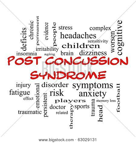 Post Concussion Syndrome Word Cloud Concept In Red Caps