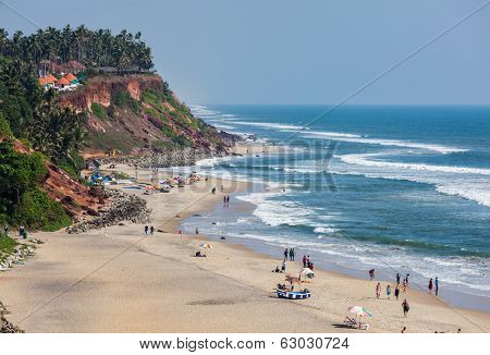 VARKALA, INDIA - FEBRUARY 22, 2013: One of India finest beaches - Varkala beach, Kerala, India