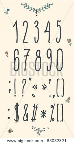 Hand drawn sketch numbers. Handwritten font.