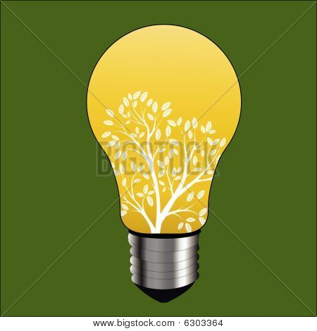 Lightbulb With Tree Environment Concept