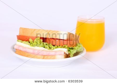 Sandwich And Orange Juice