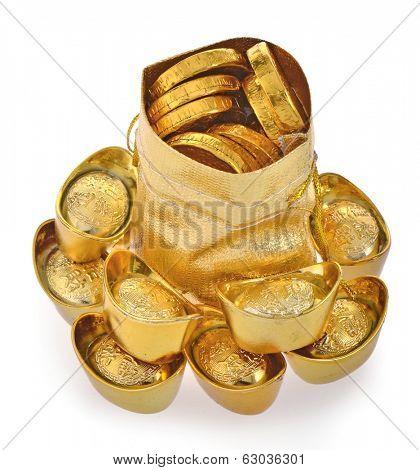 Bag with gold ingot isolated on white background