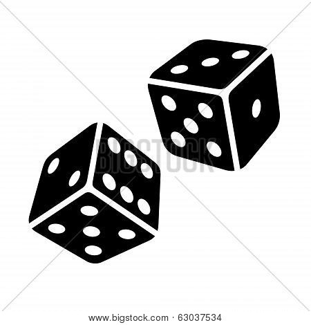 Two Black Dice Cubes on White Background. Vector