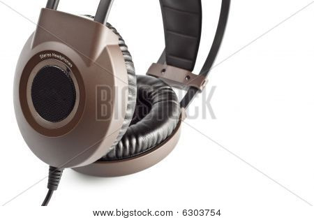 Brown Stereo Headphones Closeup