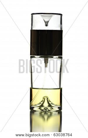 Gold Perfume With White Bottle Isolated.