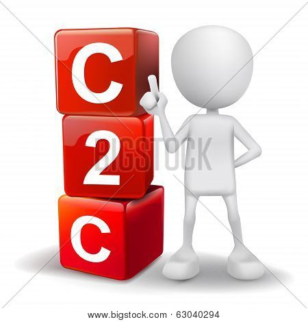 3D Illustration Of Person With Word C2C Cubes